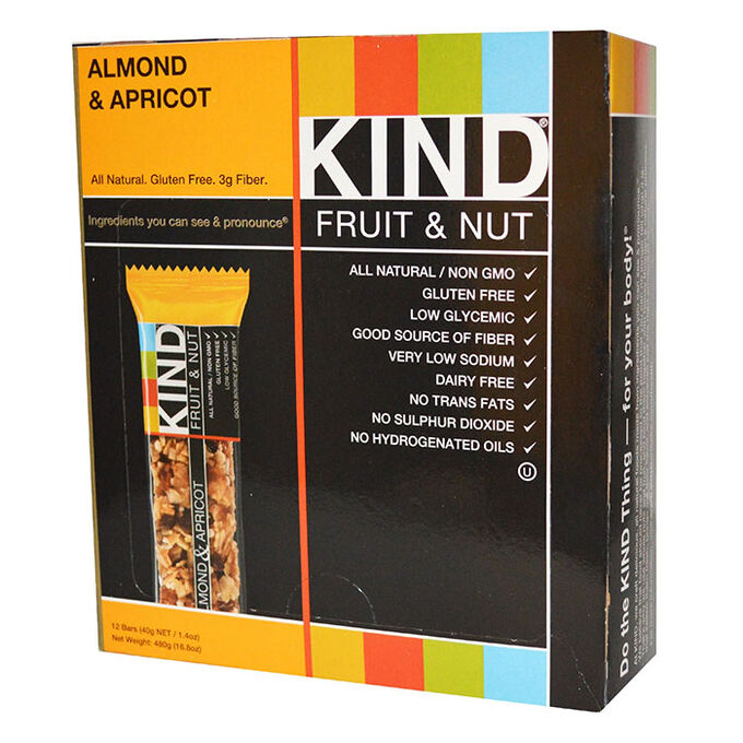 Kind Bars Fruit and Nut 12 Bars Almond and Apricot