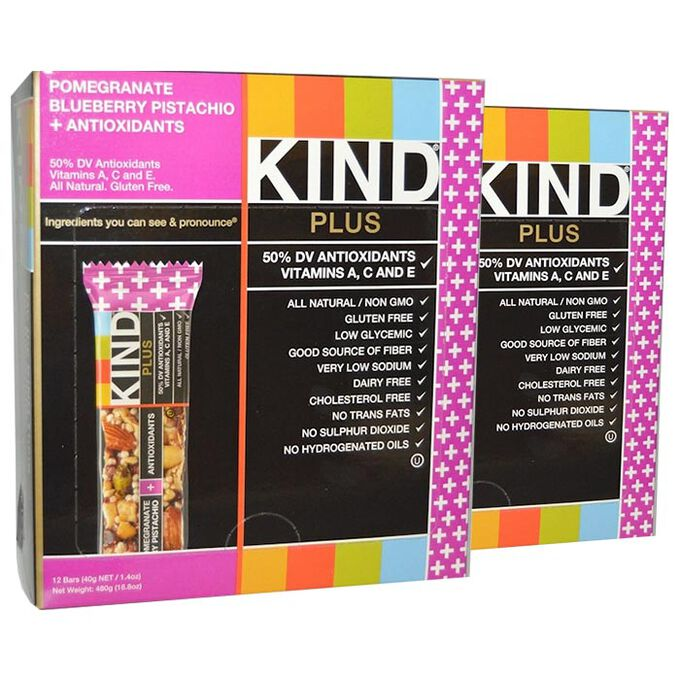 Kind Bars Plus 12 Bars Pomegranate Blueberry Pistachio