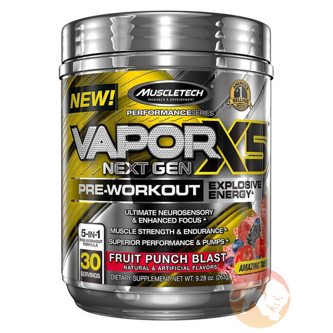 Muscletech Vapor X5 Next Gen 30 Servings Fruit Punch Blast