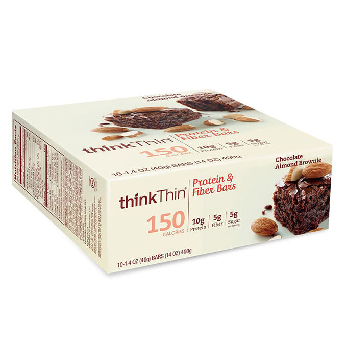 thinkThin Protein and Fiber Bars 10 Bars Chocolate Almond Brownie