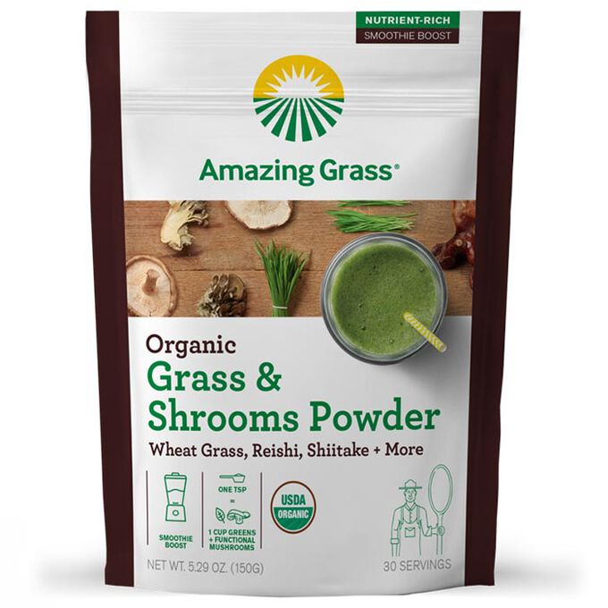Amazing Grass Organic Smoothie Booster 30 Servings Grass & Shrooms