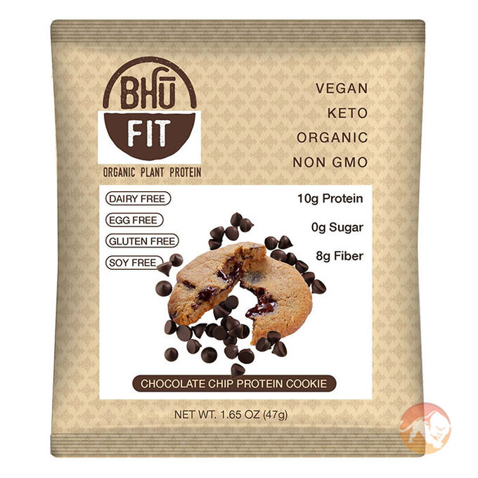 Bhu Fit Organic Vegan Protein Cookie 10 Cookies Chocolate Chip