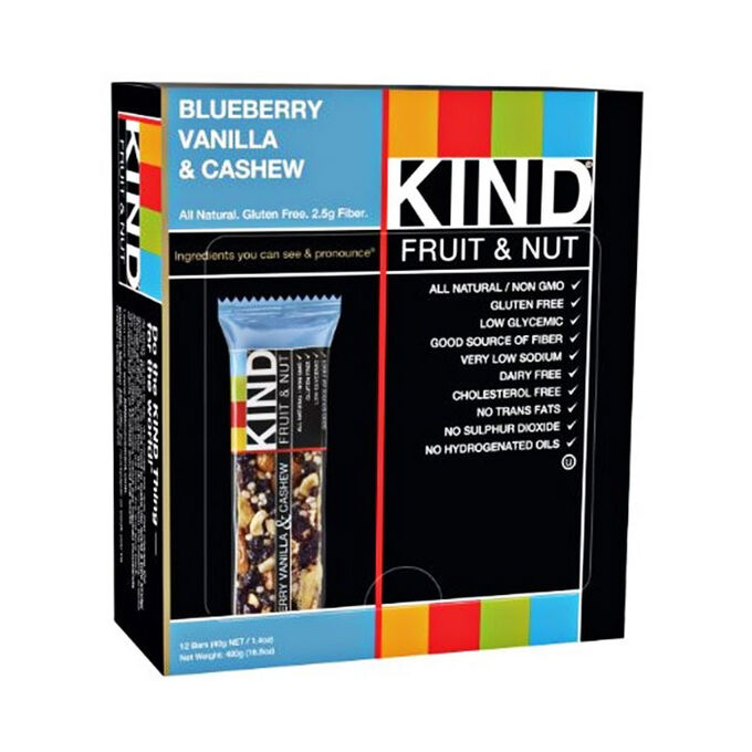 Kind Bars Fruit and Nut 12 Bars Blueberry Vanilla and Cashew