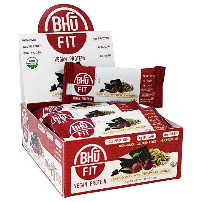 Bhu Fit Organic Vegan Protein Bar 12 Bars Chocolate, Tart Cherry and Pistachio