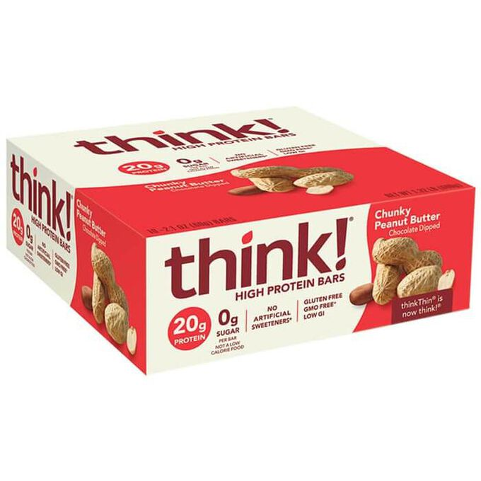 thinkThin High Protein Bars 10 Bars Chunky Peanut Butter