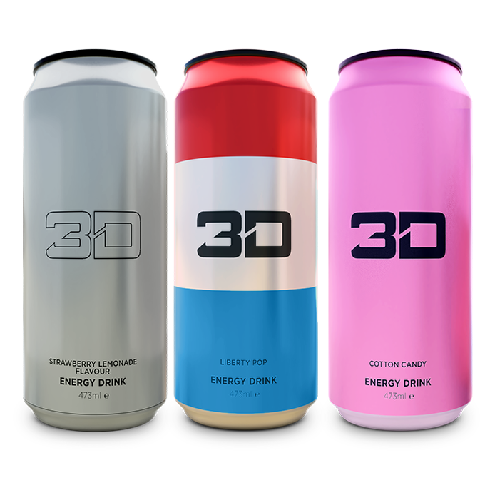 3D Energy 3D Energy Drink 1 Can Chrome, Pink, Liberty