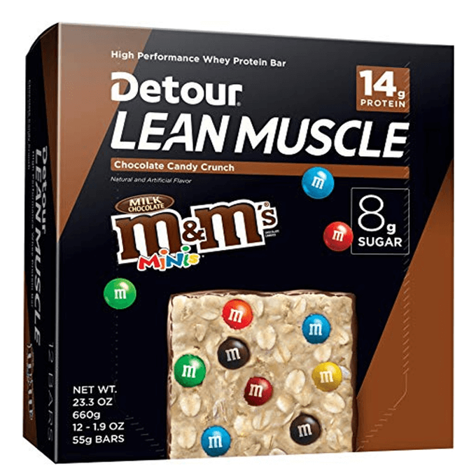 Detour Lean Muscle M&M 12 Bars Chocolate Candy Crunch