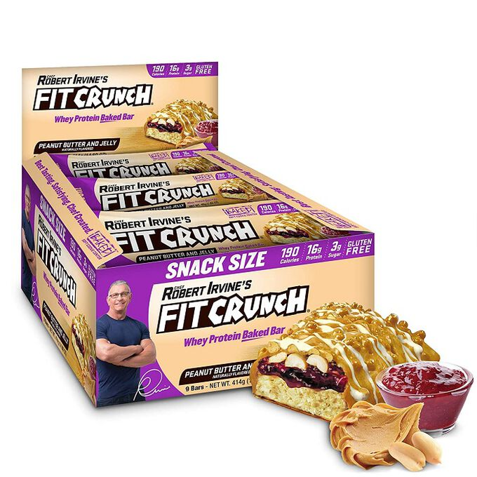 Chef Robert Irvine Fit Crunch Snack Size Protein Bar 9 Bars  Peanut Butter and Jelly