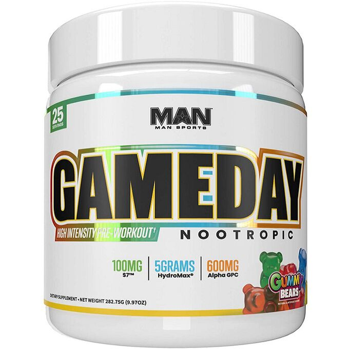 Man Sports Game Day Nootropic Pre-Workout 25 Servings Gummy Bears