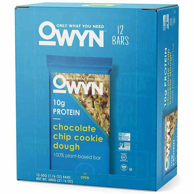 OWYN Vegan Plant Based Protein Bar 12 Bars Chocolate Chip Cookie Dough