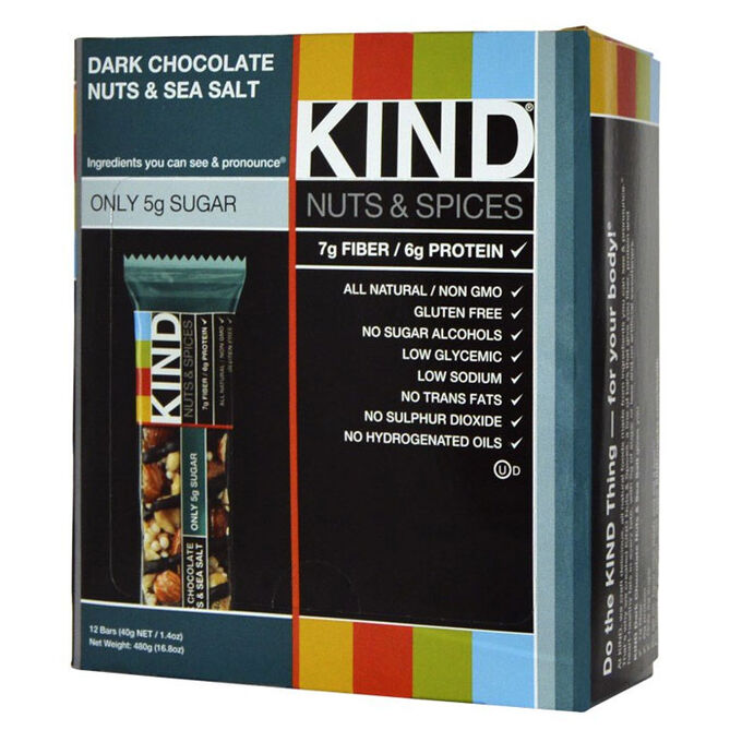 Kind Bars Nuts and Spices 12 Bars Dark Chocolate Nuts and Sea Salt
