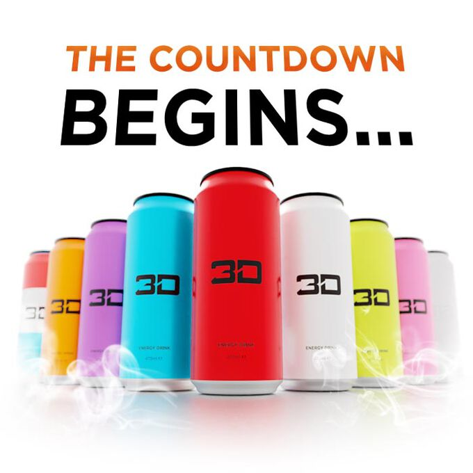3D Energy Drink 12 Cans Mixed 2 Red 2 White 2 Blue 2 Green 2 Purple 2 Orange