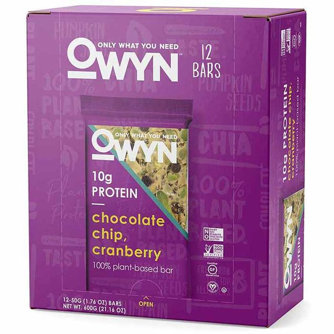 OWYN Vegan Plant Based Protein Bar 12 Bars Chocolate Chip Cranberry