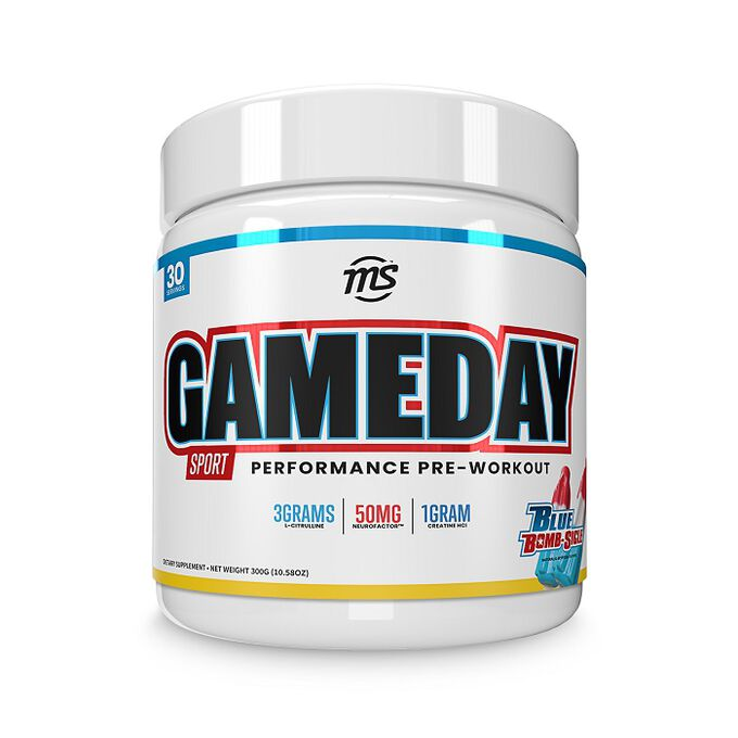 Man Sports Game Day Sport Pre-workout 30 Servings Blue Bombsicle
