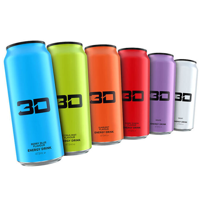 3D Energy 3D Energy Drink 6 Cans (Blue,Green, Orange,Red,Purple,White)