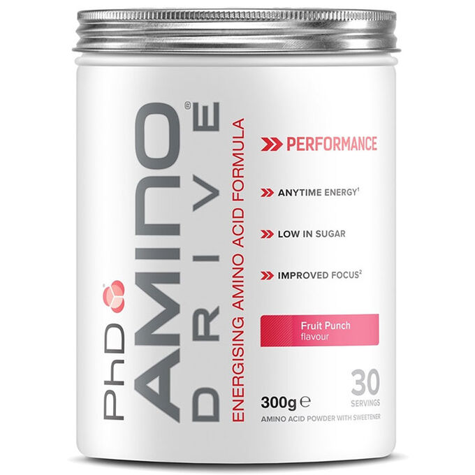 PHD Nutrition Amino Drive Fruit Punch 300g - Contains all essential amino acids and caffeine