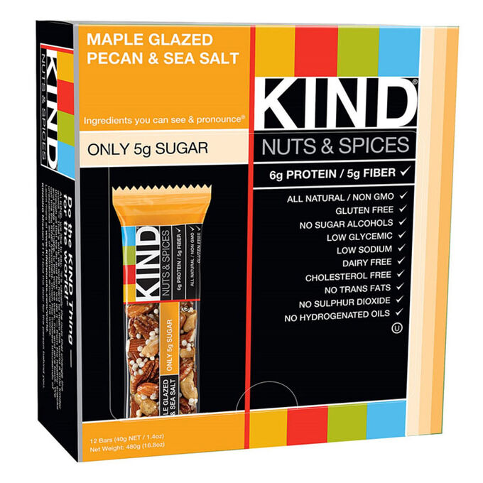 Kind Bars Nuts and Spices 12 Bars Maple Glazed Pecan and Sea Salt