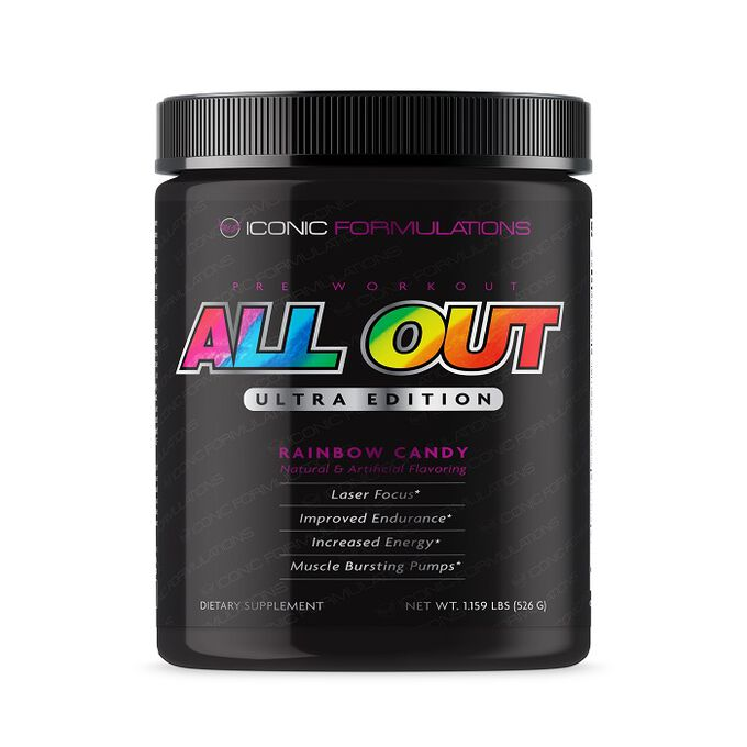 Iconic Formulations All Out Ultra Edition 40 Servings Rainbow Candy