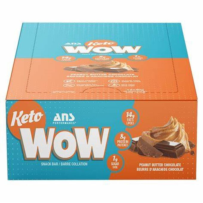 ANS Performance Keto WOW Snack Bar 12 Bars Peanut Butter Chocolate
