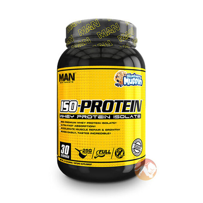 Man Sports Iso Protein 30 Servings Blueberry Muffin