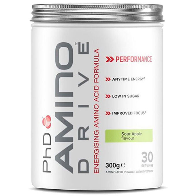 PHD Nutrition Amino Drive Sour Apple 300g - Contains all essential amino acids and caffeine