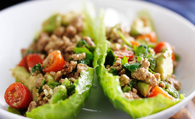 Ground Turkey served with lettuce