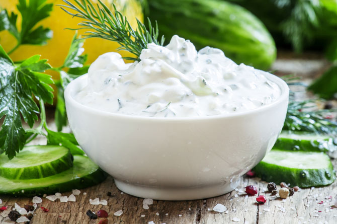 Greek yogurt served in a bowl