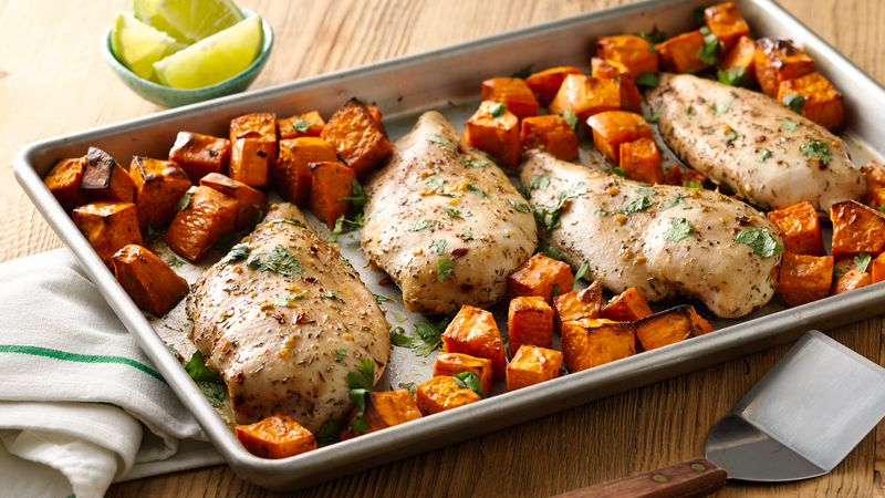 Chicken and sweet potatoes meal