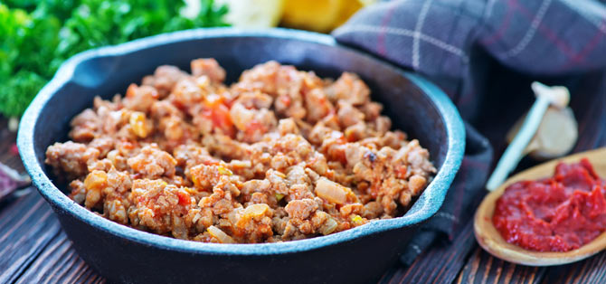 Ground Pork in a black bowl