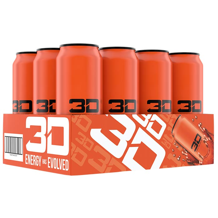 Image of 3D Energy 3D Energy Drink 12 Cans Orange