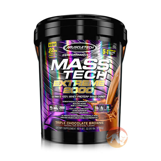 Image of Muscletech Mass Tech Extreme 2000 Performance Series 22Lb Triple Chocolate Brownie