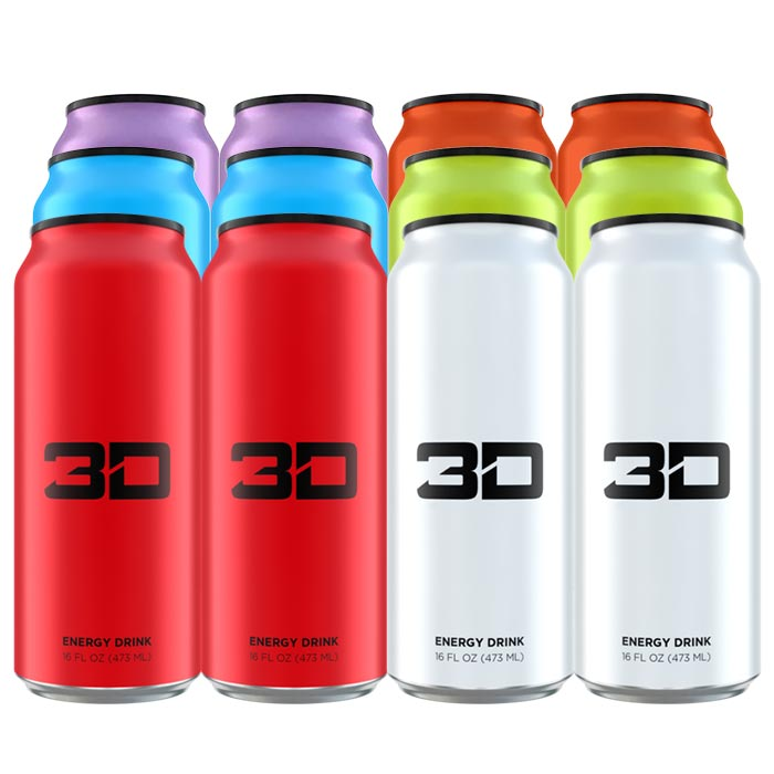 Image of 3D Energy 3D Energy Drink 12 Cans Mixed 2 Red 2 White 2 Blue 2 Green 2 Purple 2 Orange
