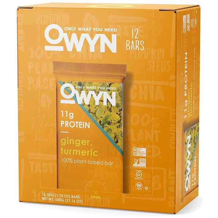 Image of OWYN OWYN Vegan Plant Based Protein Bar 12 Bars Ginger & Turmeric