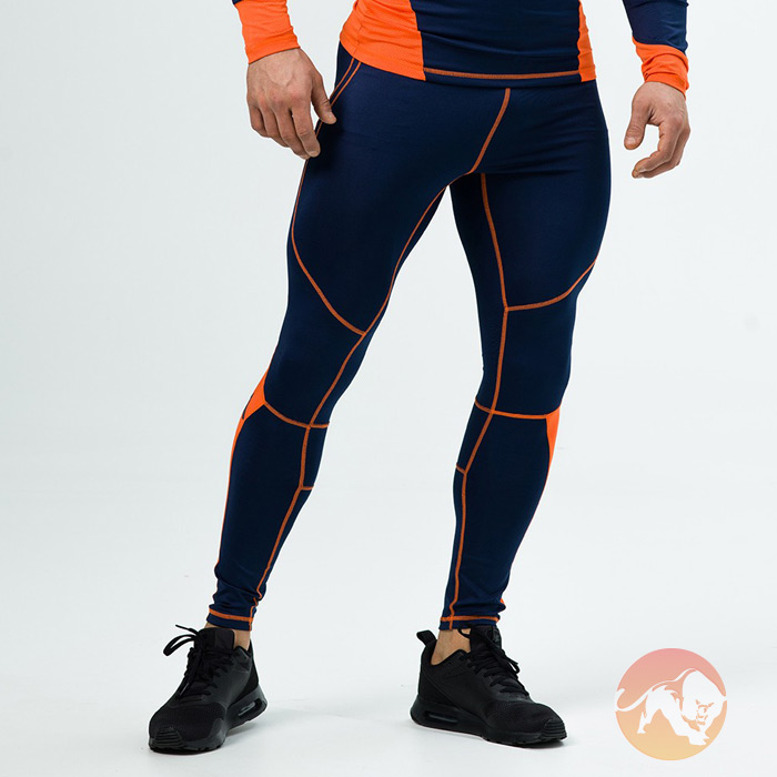 Image of Aesthetix Era Compression Pants Navy Orange Small