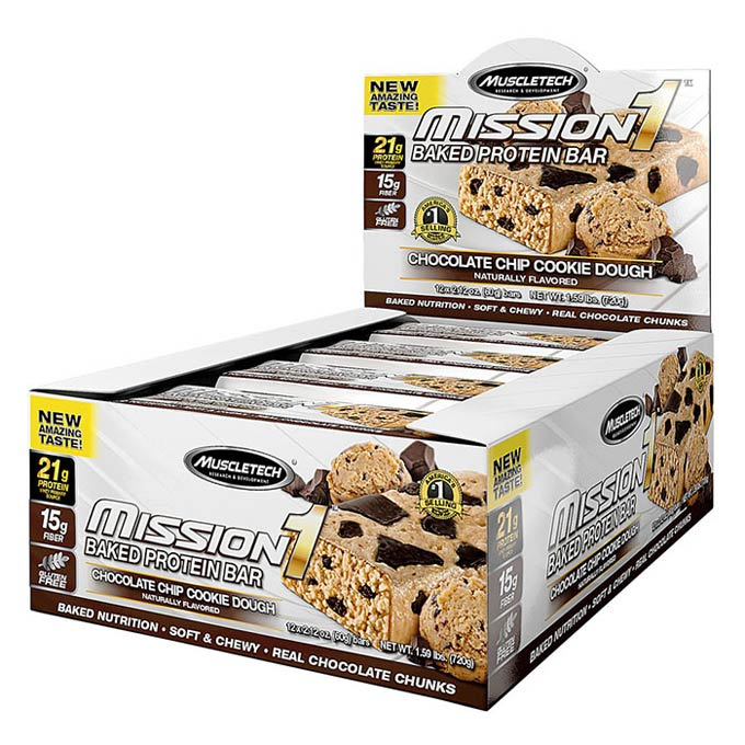 Mission 1 Bar 12 Bars Chocolate Chip Cookie Dough