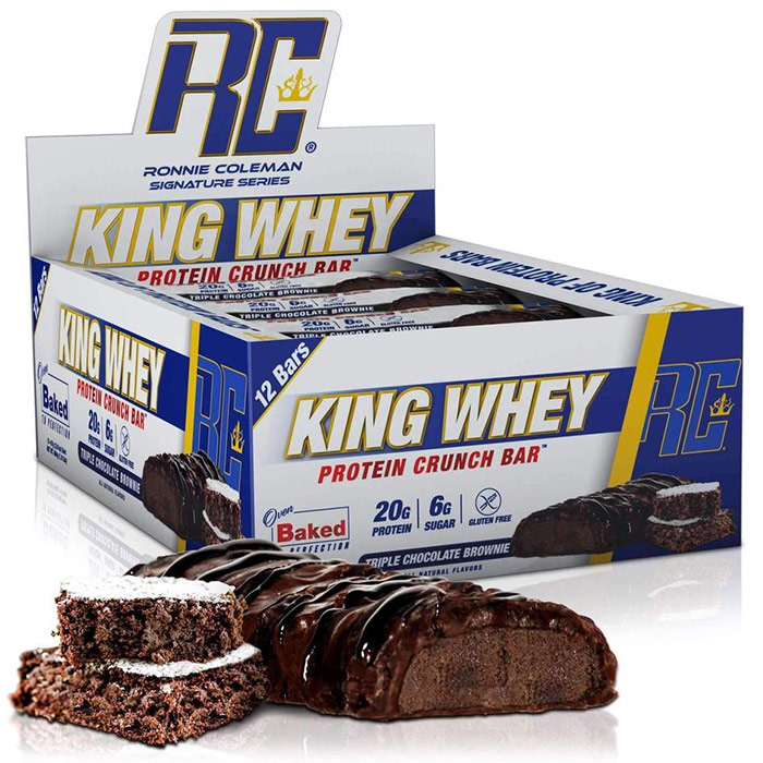 Image of Ronnie Coleman SignatureSeries King Whey Protein Crunch 12 Bars Triple Chocolate Brownie