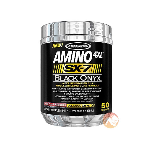 Image of Muscletech Amino 4XL SX-7 Black Onyx 50 Servings Fruit Punch Explosion