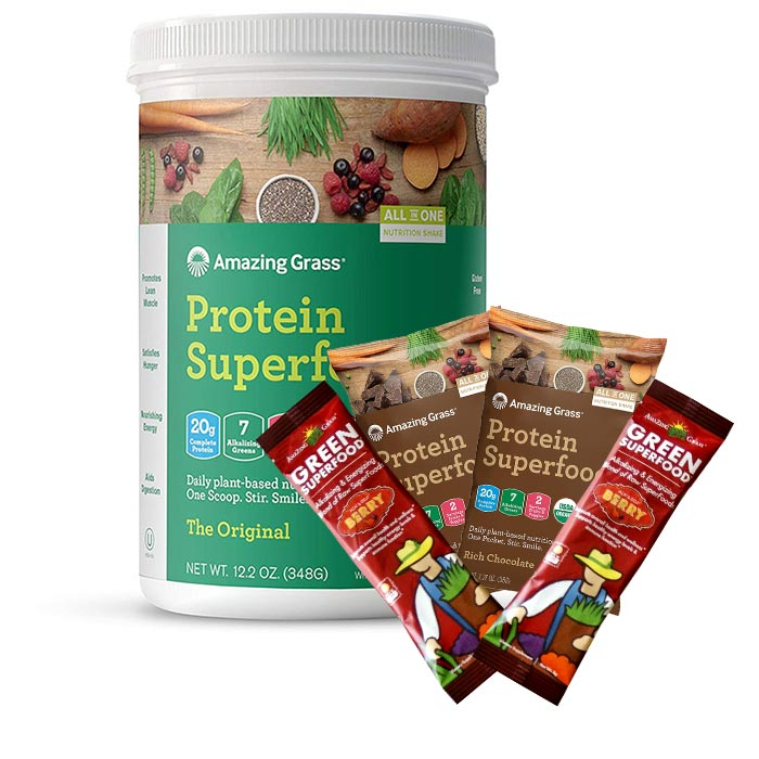 Amazing Grass Protein SuperFood Trial Serving 2 Sachet Rich Chocolate