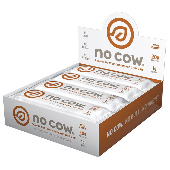 Image of No Cow No Cow Bars 12 Bars Peanut Butter Chocolate Chip
