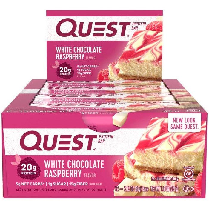 Quest Bars 12 White Chocolate Raspberry