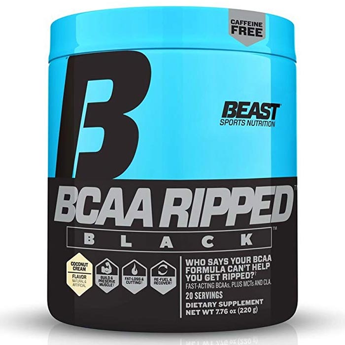 Image of Beast Sports Nutrition BCAA Ripped Black 20 Servings Coconut Cream
