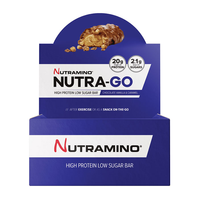 Image of Nutramino Nutra-Go Protein Bar 12 Bars Chocolate Vanilla & Caramel