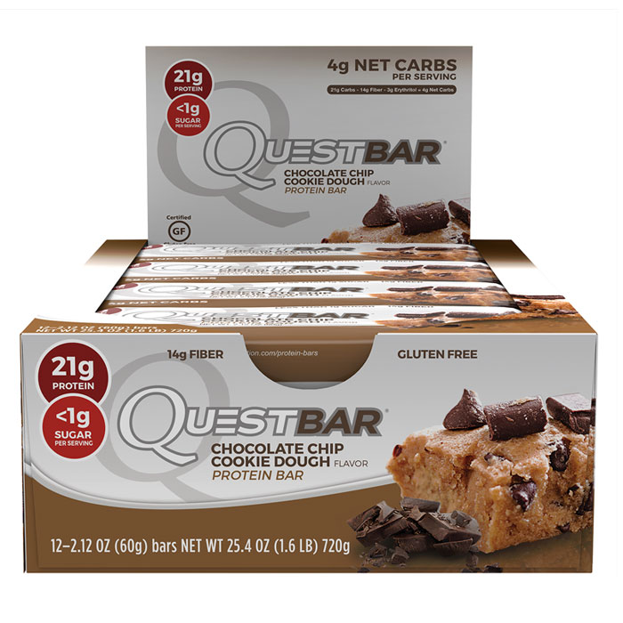 Image of Quest Nutrition Quest Bars 12 Bars -Chocolate Chip Cookie Dough
