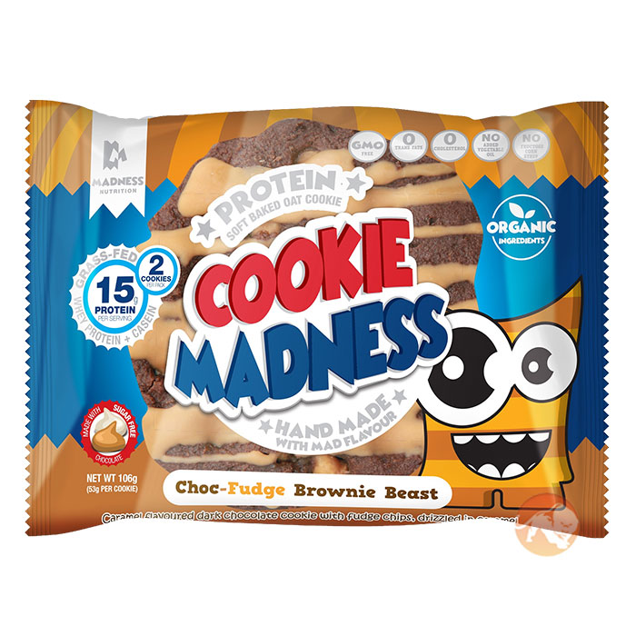 Image of Madness Nutrition Cookie Madness 12 Cookies Chocolate Fudge Brownie