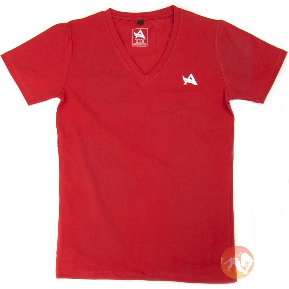 TEE V-Neck Red White Medium