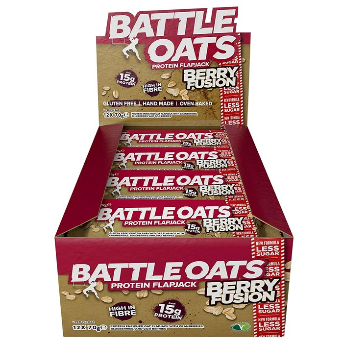 Image of Battle Oats Battle Snacks Protein Flapjack 12 Flapjacks Berry Fusion