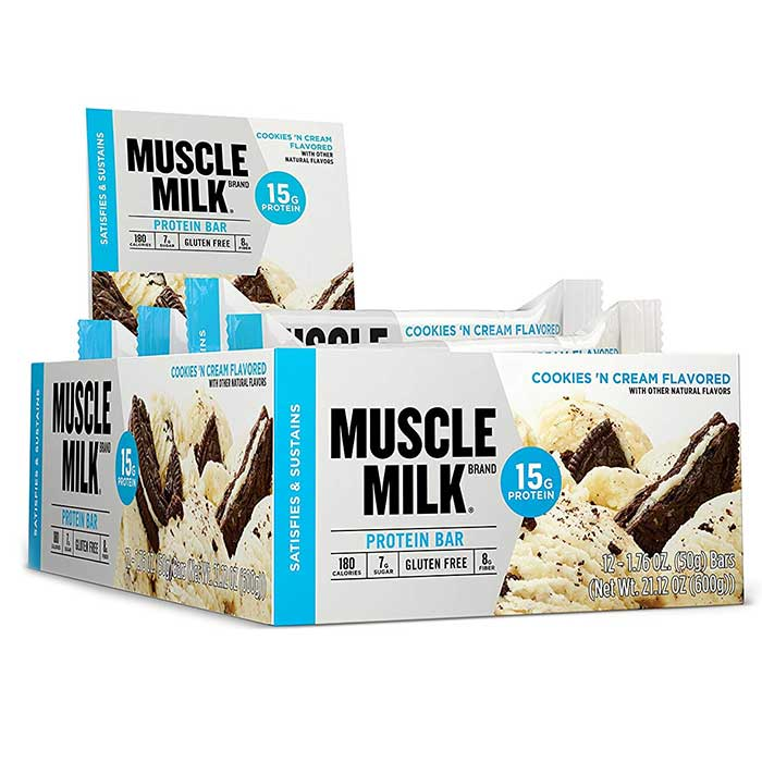 Image of Cytosport Muscle Milk 15G Protein Bar 12 Bars Cookies & Creme