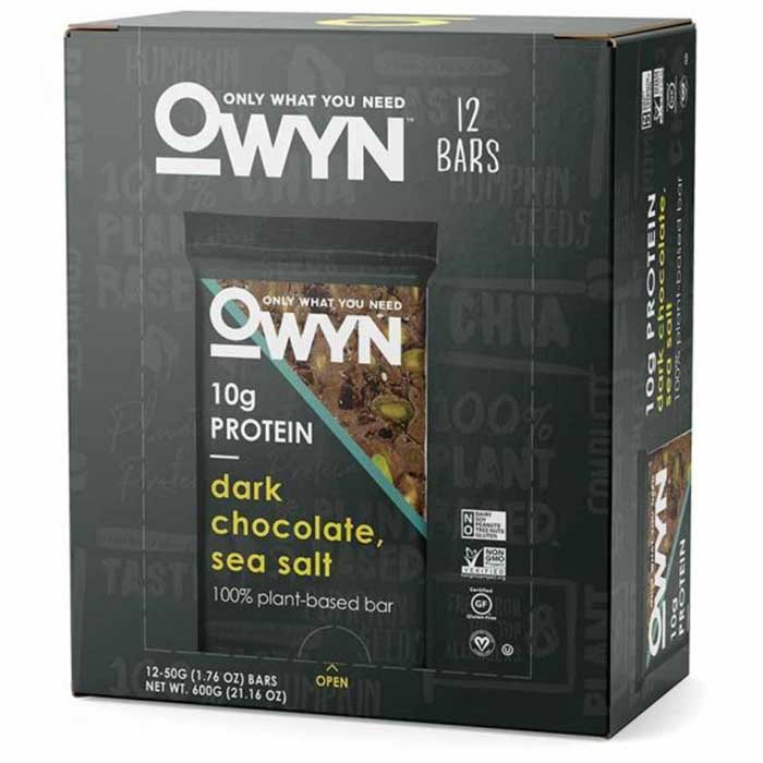 Image of OWYN OWYN Vegan Plant Based Protein Bar 12 Bars Dark Chocolate Sea Salt