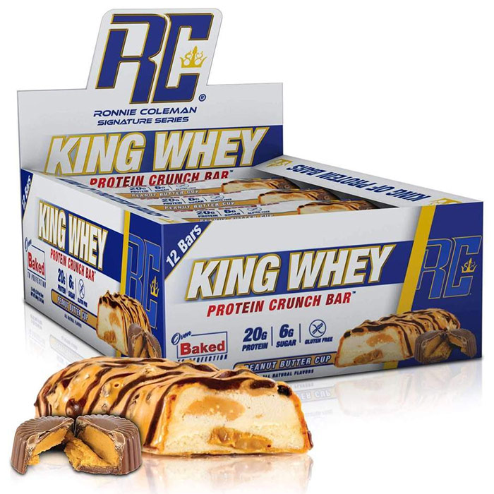 Image of Ronnie Coleman SignatureSeries King Whey Protein Crunch 12 Bars Peanut Butter Cup