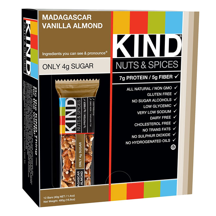 Image of Kind Snacks Kind Bars Nuts and Spices 12 Bars Madagascar Vanilla Almond